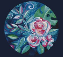 Tropical Camellia Extravaganza - oil on canvas One Piece - Short Sleeve
