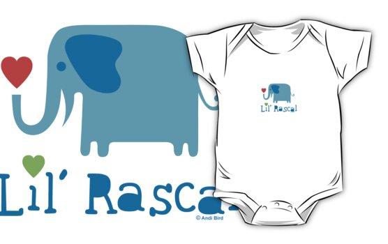 Elephant Lil Rascal blue by Andi Bird