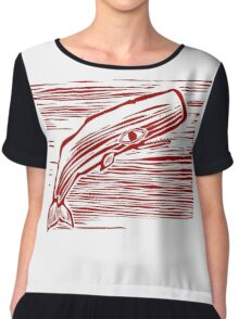 Funny Vintage Whale Linear Chiffon Top