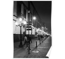 Street at night, Black and White, Lima Peru  Poster