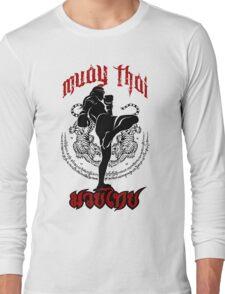 muay thai kick thailand martial art sport logo badge sticker shirt Long Sleeve T-Shirt