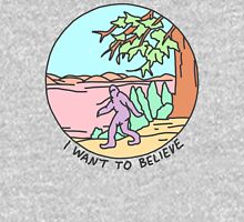 i want to believe bigfoot yeti alien occult ufo strange xfiles print Unisex T-Shirt