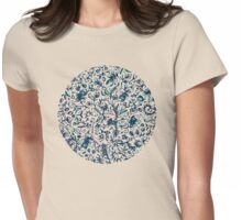 Teal Garden - floral doodle pattern in cream & navy blue Womens Fitted T-Shirt