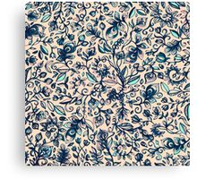 Teal Garden - floral doodle pattern in cream & navy blue Canvas Print