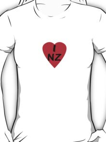 I Love New Zealand - Country Code NZ T-Shirt & Sticker T-Shirt