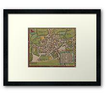 Vintge Map of Oxford England (1605) Framed Print