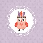 Hipster Owlet Purple and Peach by daisy-beatrice