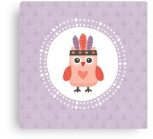 Hipster Owlet Purple Canvas Print