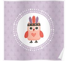Hipster Owlet Purple Poster