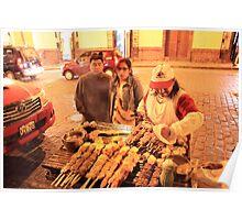 Street Grill at night, Cusco Peru Poster