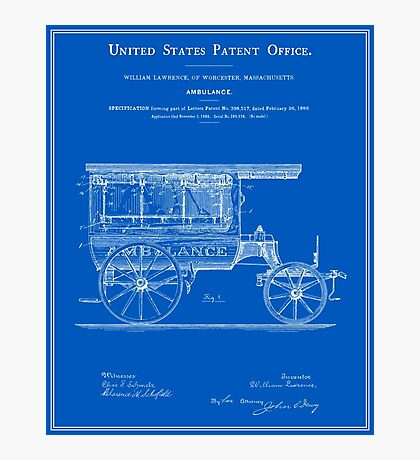 Vintage Ambulance Patent - Blueprint Photographic Print
