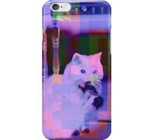 A White Cat Eating a Black Bird iPhone Case/Skin