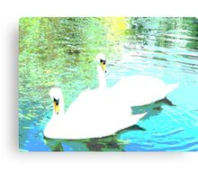 Swans by the Lake Canvas Print