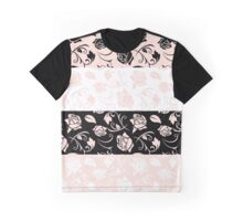 Pattern Of Roses, Flowers, Leaves - Pink Black Graphic T-Shirt