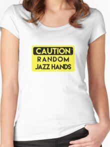 Caution - random jazz hands Women's Fitted Scoop T-Shirt