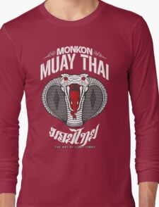 monkon muay thai cobra thailand martial art sport logo dark shirt Long Sleeve T-Shirt