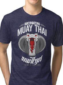 monkon muay thai cobra thailand martial art sport logo dark shirt Tri-blend T-Shirt