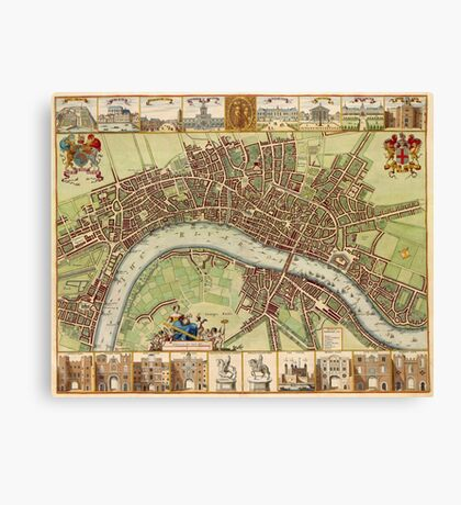 Vintage Map of London England (16th Century) Canvas Print