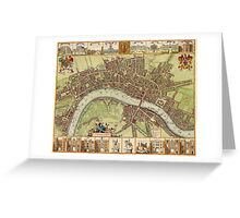 Vintage Map of London England (16th Century) Greeting Card