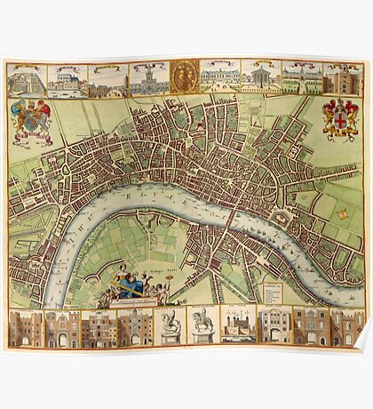 Vintage Map of London England (16th Century) Poster