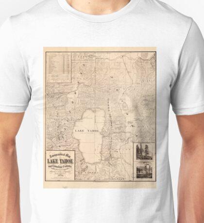 Vintage Map of Lake Tahoe Calfornia (1874) Unisex T-Shirt