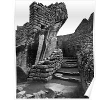 Inca Stonework Black and White, Machu Picchu, Peru Poster