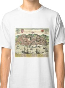 Vintage Map of Lisbon Portugal (1598) Classic T-Shirt