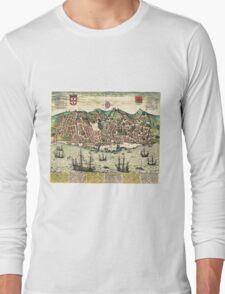 Vintage Map of Lisbon Portugal (1598) Long Sleeve T-Shirt