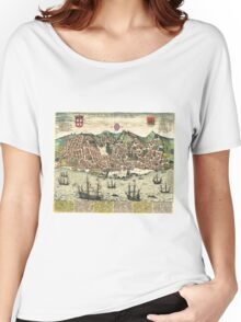 Vintage Map of Lisbon Portugal (1598) Women's Relaxed Fit T-Shirt