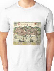 Vintage Map of Lisbon Portugal (1598) Unisex T-Shirt