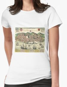 Vintage Map of Lisbon Portugal (1598) Womens Fitted T-Shirt