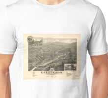 Vintage Pictorial Map of Littleton NH (1883) Unisex T-Shirt