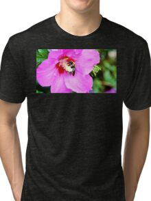 Bumble Bee Pollinating Pink Flower Tri-blend T-Shirt