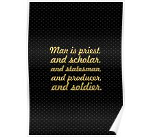 """Man is priest... """"Ralph Waldo Emerson"""" Inspirational Quote Poster"""