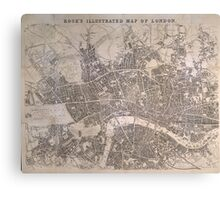 Vintage Map of London England (1845) Canvas Print