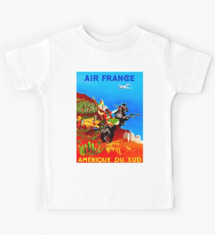 """AIR FRANCE"" Vintage Fly to South America Print Kids Tee"