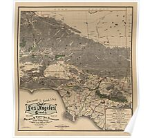 Vintage Map of Los Angeles County CA (1900) Poster