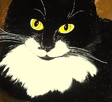 Tuxedo Cat Painting by nuancen
