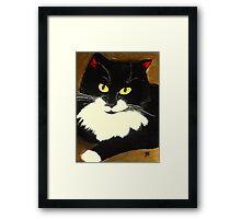 Tuxedo Cat Painting Framed Print