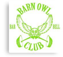 Barn Owl Barbell Club Green Canvas Print