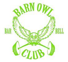 Barn Owl Barbell Club Green Photographic Print