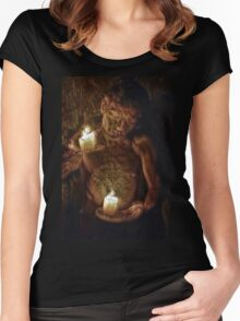 The Boy Playing with Candles Women's Fitted Scoop T-Shirt