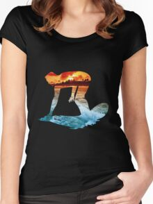 Surfing black version Women's Fitted Scoop T-Shirt