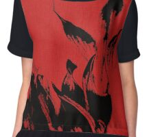 Black Flames on Red Chiffon Top