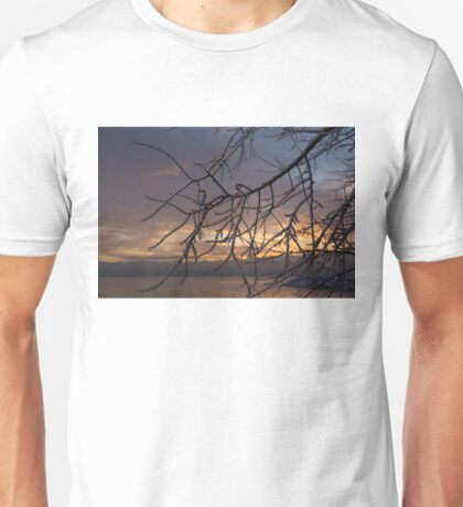 A Sunrise Through Icy Branches Unisex T-Shirt