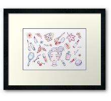 Autumn Beauty - Korean Makeup Illustration Framed Print