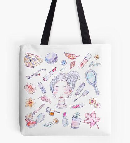 Autumn Beauty - Korean Makeup Illustration Tote Bag