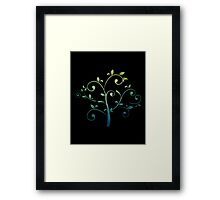 Teal and Gold Whimsical Tree Framed Print