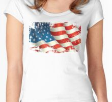 American Flag distressed  Women's Fitted Scoop T-Shirt