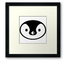 penguin cute face round character birds wild Framed Print